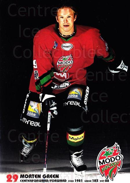 2003-04 Swedish MODO Hockey Postcards #7 Morten Green<br/>1 In Stock - $3.00 each - <a href=https://centericecollectibles.foxycart.com/cart?name=2003-04%20Swedish%20MODO%20Hockey%20Postcards%20%237%20Morten%20Green...&quantity_max=1&price=$3.00&code=731165 class=foxycart> Buy it now! </a>