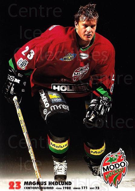 2003-04 Swedish MODO Hockey Postcards #9 Magnum Hedlund<br/>1 In Stock - $3.00 each - <a href=https://centericecollectibles.foxycart.com/cart?name=2003-04%20Swedish%20MODO%20Hockey%20Postcards%20%239%20Magnum%20Hedlund...&quantity_max=1&price=$3.00&code=731167 class=foxycart> Buy it now! </a>