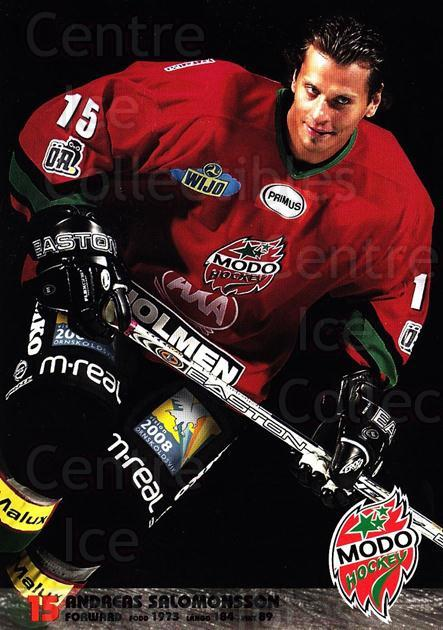 2003-04 Swedish MODO Hockey Postcards #21 Andreas Salomonsson<br/>1 In Stock - $3.00 each - <a href=https://centericecollectibles.foxycart.com/cart?name=2003-04%20Swedish%20MODO%20Hockey%20Postcards%20%2321%20Andreas%20Salomon...&quantity_max=1&price=$3.00&code=731179 class=foxycart> Buy it now! </a>