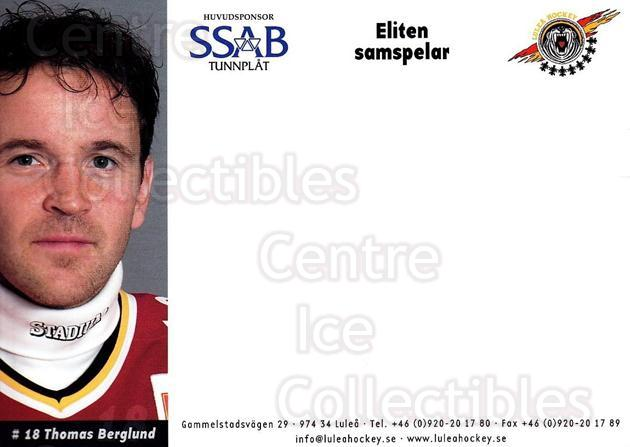 2003-04 Swedish Lulea Hockey Postcards #3 Thomas Berglund<br/>2 In Stock - $3.00 each - <a href=https://centericecollectibles.foxycart.com/cart?name=2003-04%20Swedish%20Lulea%20Hockey%20Postcards%20%233%20Thomas%20Berglund...&quantity_max=2&price=$3.00&code=731212 class=foxycart> Buy it now! </a>