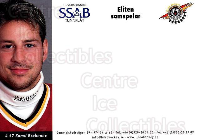 2003-04 Swedish Lulea Hockey Postcards #4 Kamil Brabenec<br/>2 In Stock - $3.00 each - <a href=https://centericecollectibles.foxycart.com/cart?name=2003-04%20Swedish%20Lulea%20Hockey%20Postcards%20%234%20Kamil%20Brabenec...&quantity_max=2&price=$3.00&code=731213 class=foxycart> Buy it now! </a>