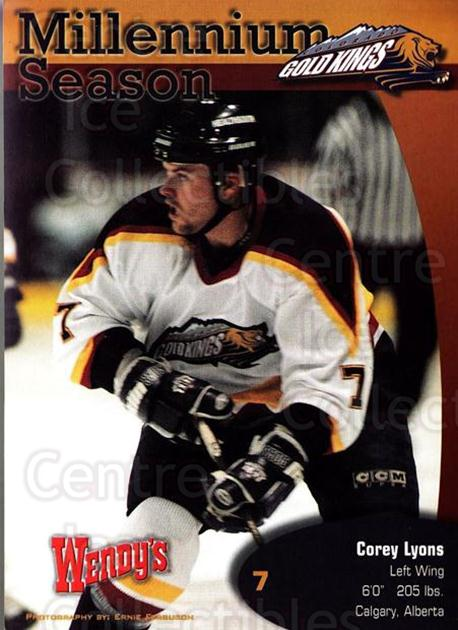 1999-00 Colorado Gold Kings Postcards #5 Corey Lyons<br/>1 In Stock - $5.00 each - <a href=https://centericecollectibles.foxycart.com/cart?name=1999-00%20Colorado%20Gold%20Kings%20Postcards%20%235%20Corey%20Lyons...&quantity_max=1&price=$5.00&code=731390 class=foxycart> Buy it now! </a>