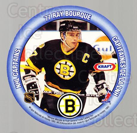 1993-94 Kraft Peanut Butter Discs NHL Captains #1 Ray Bourque, Pat Flatley<br/>9 In Stock - $3.00 each - <a href=https://centericecollectibles.foxycart.com/cart?name=1993-94%20Kraft%20Peanut%20Butter%20Discs%20NHL%20Captains%20%231%20Ray%20Bourque,%20Pa...&quantity_max=9&price=$3.00&code=7313 class=foxycart> Buy it now! </a>