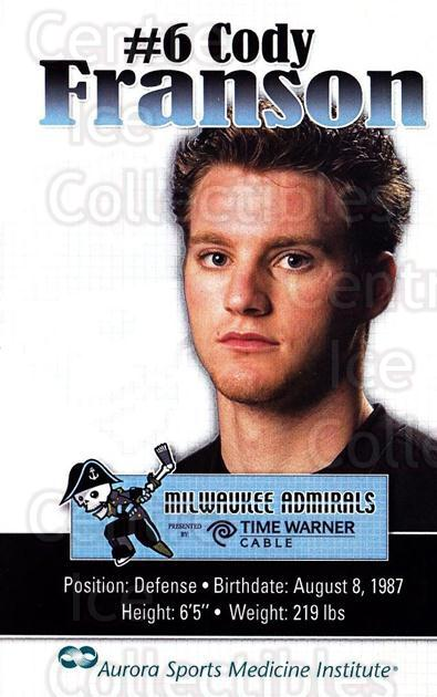 2009-10 Milwaukee Admirals Postcards #5 Cody Franson<br/>2 In Stock - $3.00 each - <a href=https://centericecollectibles.foxycart.com/cart?name=2009-10%20Milwaukee%20Admirals%20Postcards%20%235%20Cody%20Franson...&quantity_max=2&price=$3.00&code=731462 class=foxycart> Buy it now! </a>