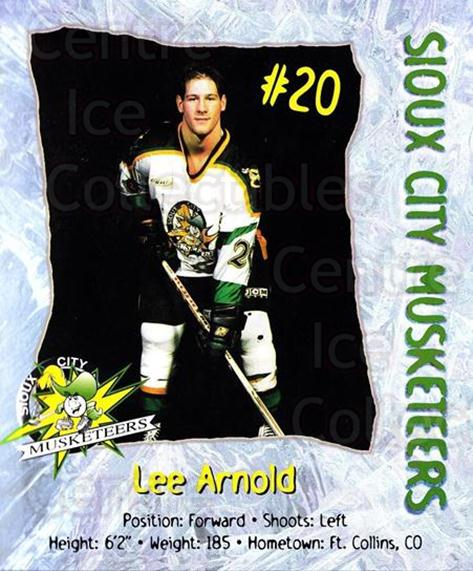 1998-99 Sioux City Musketeers #1 Lee Arnold<br/>2 In Stock - $5.00 each - <a href=https://centericecollectibles.foxycart.com/cart?name=1998-99%20Sioux%20City%20Musketeers%20%231%20Lee%20Arnold...&quantity_max=2&price=$5.00&code=731509 class=foxycart> Buy it now! </a>