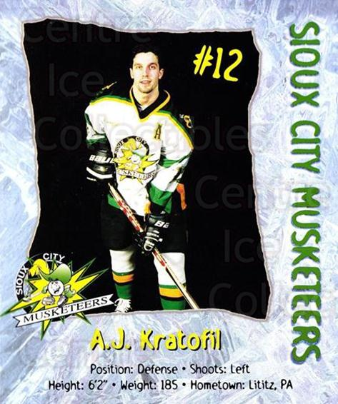 1998-99 Sioux City Musketeers #10 Aj Kratofil<br/>2 In Stock - $5.00 each - <a href=https://centericecollectibles.foxycart.com/cart?name=1998-99%20Sioux%20City%20Musketeers%20%2310%20Aj%20Kratofil...&quantity_max=2&price=$5.00&code=731518 class=foxycart> Buy it now! </a>