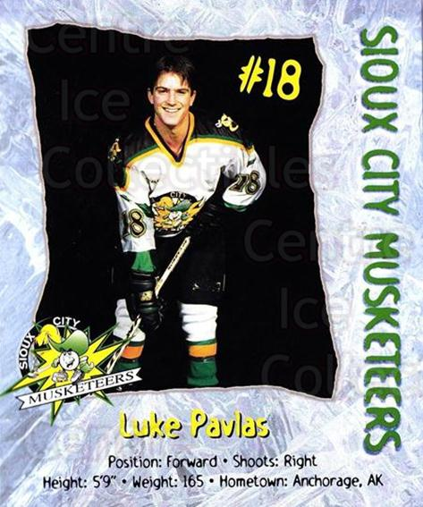 1998-99 Sioux City Musketeers #20 Luke Pavlas<br/>2 In Stock - $5.00 each - <a href=https://centericecollectibles.foxycart.com/cart?name=1998-99%20Sioux%20City%20Musketeers%20%2320%20Luke%20Pavlas...&quantity_max=2&price=$5.00&code=731528 class=foxycart> Buy it now! </a>
