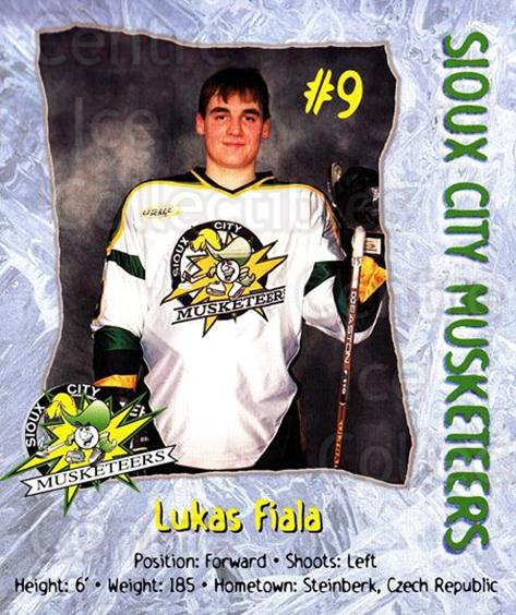 1999-00 Sioux City Musketeers #6 Lukas Fiala<br/>1 In Stock - $5.00 each - <a href=https://centericecollectibles.foxycart.com/cart?name=1999-00%20Sioux%20City%20Musketeers%20%236%20Lukas%20Fiala...&quantity_max=1&price=$5.00&code=731539 class=foxycart> Buy it now! </a>