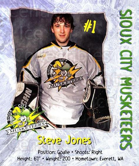 1999-00 Sioux City Musketeers #10 Steve Jones<br/>1 In Stock - $5.00 each - <a href=https://centericecollectibles.foxycart.com/cart?name=1999-00%20Sioux%20City%20Musketeers%20%2310%20Steve%20Jones...&quantity_max=1&price=$5.00&code=731543 class=foxycart> Buy it now! </a>