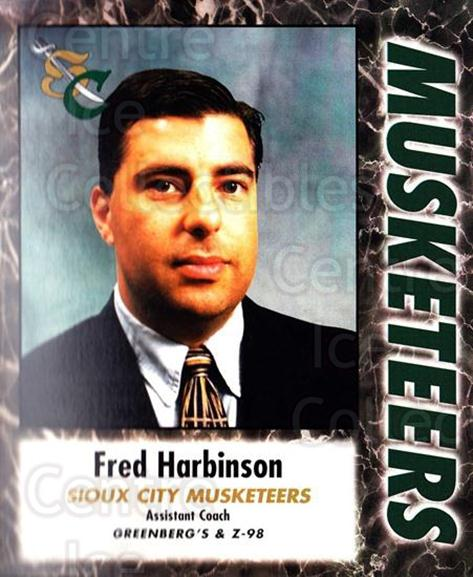 2000-01 Sioux City Musketeers #11 Fred Harbinson<br/>1 In Stock - $5.00 each - <a href=https://centericecollectibles.foxycart.com/cart?name=2000-01%20Sioux%20City%20Musketeers%20%2311%20Fred%20Harbinson...&quantity_max=1&price=$5.00&code=731565 class=foxycart> Buy it now! </a>