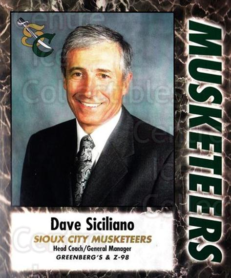 2000-01 Sioux City Musketeers #24 Dave Siciliano<br/>1 In Stock - $5.00 each - <a href=https://centericecollectibles.foxycart.com/cart?name=2000-01%20Sioux%20City%20Musketeers%20%2324%20Dave%20Siciliano...&quantity_max=1&price=$5.00&code=731578 class=foxycart> Buy it now! </a>