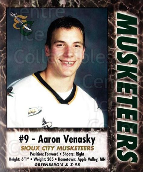 2000-01 Sioux City Musketeers #27 Aaron Venasky<br/>1 In Stock - $5.00 each - <a href=https://centericecollectibles.foxycart.com/cart?name=2000-01%20Sioux%20City%20Musketeers%20%2327%20Aaron%20Venasky...&quantity_max=1&price=$5.00&code=731581 class=foxycart> Buy it now! </a>