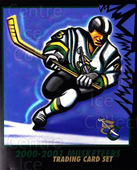 2000-01 Sioux City Musketeers #30 Header<br/>1 In Stock - $5.00 each - <a href=https://centericecollectibles.foxycart.com/cart?name=2000-01%20Sioux%20City%20Musketeers%20%2330%20Header...&quantity_max=1&price=$5.00&code=731584 class=foxycart> Buy it now! </a>