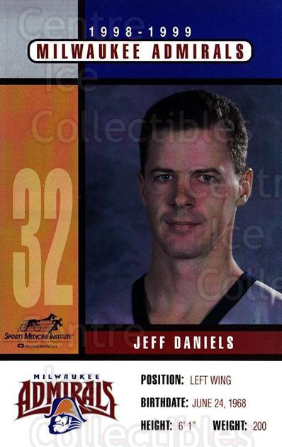 1998-99 Milwaukee Admirals Postcards #3 Jeff Daniels<br/>2 In Stock - $3.00 each - <a href=https://centericecollectibles.foxycart.com/cart?name=1998-99%20Milwaukee%20Admirals%20Postcards%20%233%20Jeff%20Daniels...&quantity_max=2&price=$3.00&code=731610 class=foxycart> Buy it now! </a>