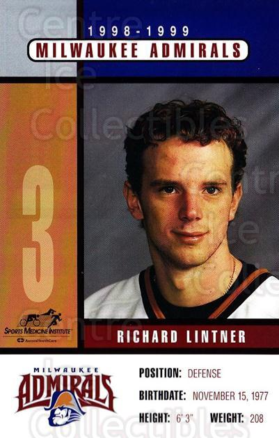 1998-99 Milwaukee Admirals Postcards #10 Richard Lintner<br/>2 In Stock - $3.00 each - <a href=https://centericecollectibles.foxycart.com/cart?name=1998-99%20Milwaukee%20Admirals%20Postcards%20%2310%20Richard%20Lintner...&quantity_max=2&price=$3.00&code=731617 class=foxycart> Buy it now! </a>