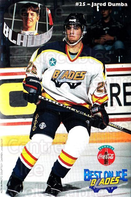 1996-97 Saskatoon Blades Postcards #8 Jared Dumba<br/>1 In Stock - $3.00 each - <a href=https://centericecollectibles.foxycart.com/cart?name=1996-97%20Saskatoon%20Blades%20Postcards%20%238%20Jared%20Dumba...&quantity_max=1&price=$3.00&code=731657 class=foxycart> Buy it now! </a>