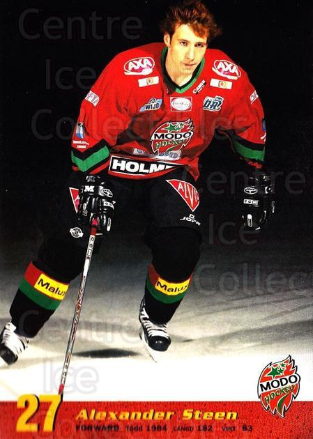2004-05 Swedish MODO Hockey Postcards #19 Alexander Steen<br/>1 In Stock - $5.00 each - <a href=https://centericecollectibles.foxycart.com/cart?name=2004-05%20Swedish%20MODO%20Hockey%20Postcards%20%2319%20Alexander%20Steen...&quantity_max=1&price=$5.00&code=731780 class=foxycart> Buy it now! </a>
