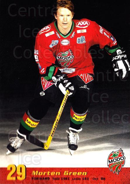 2004-05 Swedish MODO Hockey Postcards #20 Morten Green<br/>1 In Stock - $3.00 each - <a href=https://centericecollectibles.foxycart.com/cart?name=2004-05%20Swedish%20MODO%20Hockey%20Postcards%20%2320%20Morten%20Green...&quantity_max=1&price=$3.00&code=731781 class=foxycart> Buy it now! </a>