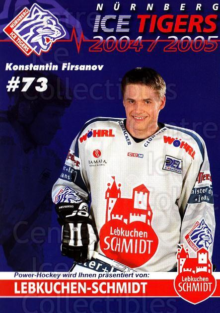 2004-05 German Nurnberg Ice Tigers Postcards #6 Konstantin Firsanov<br/>1 In Stock - $3.00 each - <a href=https://centericecollectibles.foxycart.com/cart?name=2004-05%20German%20Nurnberg%20Ice%20Tigers%20Postcards%20%236%20Konstantin%20Firs...&quantity_max=1&price=$3.00&code=731972 class=foxycart> Buy it now! </a>