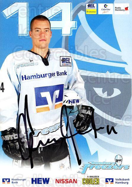 2004-05 German Hamburg Freezers Postcards #12 Christopher Oravec<br/>1 In Stock - $3.00 each - <a href=https://centericecollectibles.foxycart.com/cart?name=2004-05%20German%20Hamburg%20Freezers%20Postcards%20%2312%20Christopher%20Ora...&quantity_max=1&price=$3.00&code=732197 class=foxycart> Buy it now! </a>