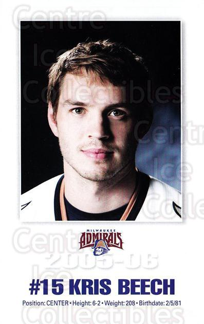 2005-06 Milwaukee Admirals Postcards #1 Kris Beech<br/>2 In Stock - $3.00 each - <a href=https://centericecollectibles.foxycart.com/cart?name=2005-06%20Milwaukee%20Admirals%20Postcards%20%231%20Kris%20Beech...&quantity_max=2&price=$3.00&code=732231 class=foxycart> Buy it now! </a>