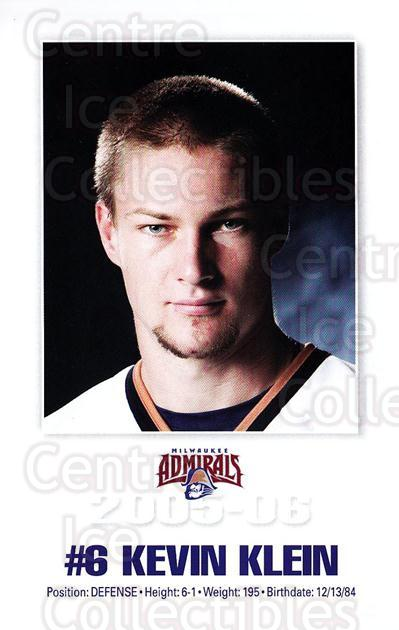 2005-06 Milwaukee Admirals Postcards #9 Kevin Klein<br/>2 In Stock - $3.00 each - <a href=https://centericecollectibles.foxycart.com/cart?name=2005-06%20Milwaukee%20Admirals%20Postcards%20%239%20Kevin%20Klein...&quantity_max=2&price=$3.00&code=732239 class=foxycart> Buy it now! </a>