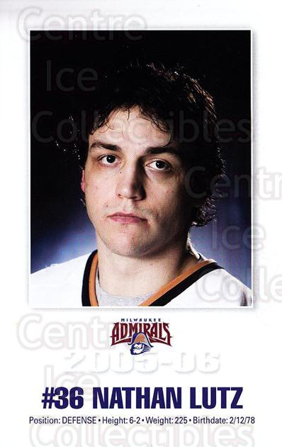 2005-06 Milwaukee Admirals Postcards #10 Nathan Lutz<br/>2 In Stock - $3.00 each - <a href=https://centericecollectibles.foxycart.com/cart?name=2005-06%20Milwaukee%20Admirals%20Postcards%20%2310%20Nathan%20Lutz...&quantity_max=2&price=$3.00&code=732240 class=foxycart> Buy it now! </a>