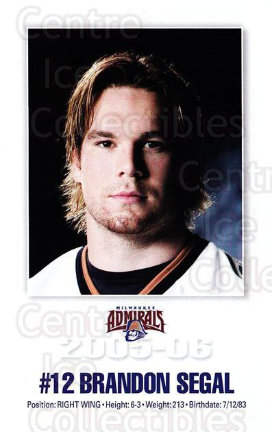 2005-06 Milwaukee Admirals Postcards #15 Brandon Segal<br/>2 In Stock - $3.00 each - <a href=https://centericecollectibles.foxycart.com/cart?name=2005-06%20Milwaukee%20Admirals%20Postcards%20%2315%20Brandon%20Segal...&quantity_max=2&price=$3.00&code=732245 class=foxycart> Buy it now! </a>