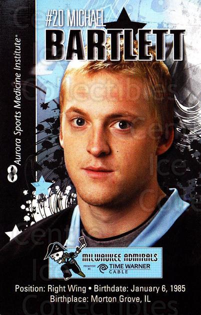 2010-11 Milwaukee Admirals Postcards #1 Michael Bartlett<br/>2 In Stock - $3.00 each - <a href=https://centericecollectibles.foxycart.com/cart?name=2010-11%20Milwaukee%20Admirals%20Postcards%20%231%20Michael%20Bartlet...&quantity_max=2&price=$3.00&code=732250 class=foxycart> Buy it now! </a>