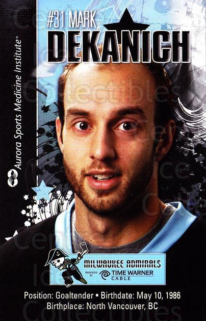 2010-11 Milwaukee Admirals Postcards #4 Mark Dekanich<br/>2 In Stock - $3.00 each - <a href=https://centericecollectibles.foxycart.com/cart?name=2010-11%20Milwaukee%20Admirals%20Postcards%20%234%20Mark%20Dekanich...&quantity_max=2&price=$3.00&code=732253 class=foxycart> Buy it now! </a>