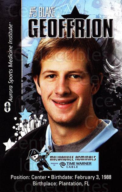 2010-11 Milwaukee Admirals Postcards #6 Blake Geoffrion<br/>1 In Stock - $3.00 each - <a href=https://centericecollectibles.foxycart.com/cart?name=2010-11%20Milwaukee%20Admirals%20Postcards%20%236%20Blake%20Geoffrion...&quantity_max=1&price=$3.00&code=732255 class=foxycart> Buy it now! </a>