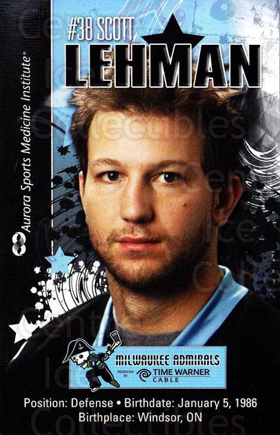 2010-11 Milwaukee Admirals Postcards #12 Scott Lehman<br/>2 In Stock - $3.00 each - <a href=https://centericecollectibles.foxycart.com/cart?name=2010-11%20Milwaukee%20Admirals%20Postcards%20%2312%20Scott%20Lehman...&quantity_max=2&price=$3.00&code=732261 class=foxycart> Buy it now! </a>