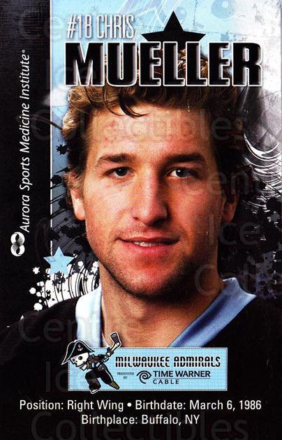 2010-11 Milwaukee Admirals Postcards #14 Chris Mueller<br/>2 In Stock - $3.00 each - <a href=https://centericecollectibles.foxycart.com/cart?name=2010-11%20Milwaukee%20Admirals%20Postcards%20%2314%20Chris%20Mueller...&quantity_max=2&price=$3.00&code=732263 class=foxycart> Buy it now! </a>