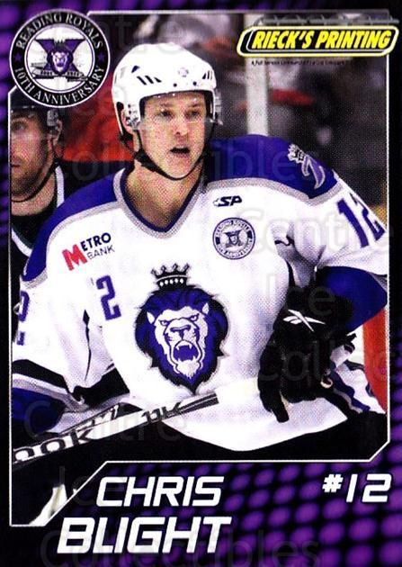 2010-11 Reading Royals #1 Chris Blight<br/>1 In Stock - $3.00 each - <a href=https://centericecollectibles.foxycart.com/cart?name=2010-11%20Reading%20Royals%20%231%20Chris%20Blight...&quantity_max=1&price=$3.00&code=732298 class=foxycart> Buy it now! </a>