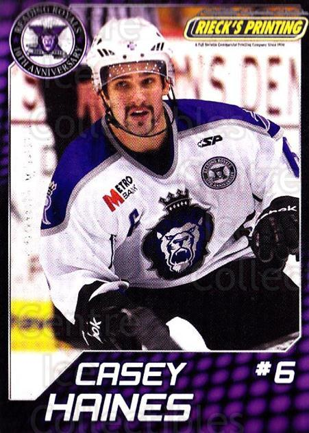 2010-11 Reading Royals #12 Casey Haines<br/>1 In Stock - $3.00 each - <a href=https://centericecollectibles.foxycart.com/cart?name=2010-11%20Reading%20Royals%20%2312%20Casey%20Haines...&quantity_max=1&price=$3.00&code=732309 class=foxycart> Buy it now! </a>