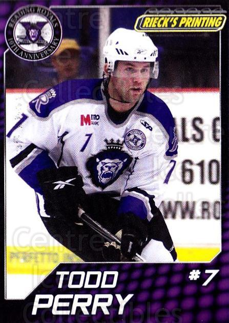2010-11 Reading Royals #21 Todd Perry<br/>1 In Stock - $3.00 each - <a href=https://centericecollectibles.foxycart.com/cart?name=2010-11%20Reading%20Royals%20%2321%20Todd%20Perry...&quantity_max=1&price=$3.00&code=732318 class=foxycart> Buy it now! </a>