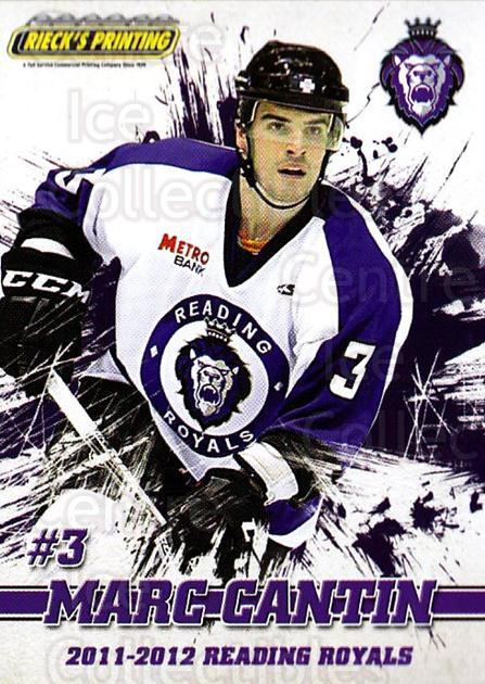 2011-12 Reading Royals #3 Marc Cantin<br/>1 In Stock - $3.00 each - <a href=https://centericecollectibles.foxycart.com/cart?name=2011-12%20Reading%20Royals%20%233%20Marc%20Cantin...&quantity_max=1&price=$3.00&code=732332 class=foxycart> Buy it now! </a>