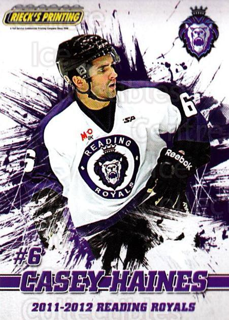 2011-12 Reading Royals #6 Casey Haines<br/>1 In Stock - $3.00 each - <a href=https://centericecollectibles.foxycart.com/cart?name=2011-12%20Reading%20Royals%20%236%20Casey%20Haines...&quantity_max=1&price=$3.00&code=732335 class=foxycart> Buy it now! </a>