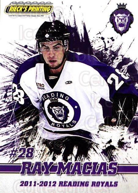 2011-12 Reading Royals #23 Raymond Macias<br/>1 In Stock - $3.00 each - <a href=https://centericecollectibles.foxycart.com/cart?name=2011-12%20Reading%20Royals%20%2323%20Raymond%20Macias...&quantity_max=1&price=$3.00&code=732352 class=foxycart> Buy it now! </a>