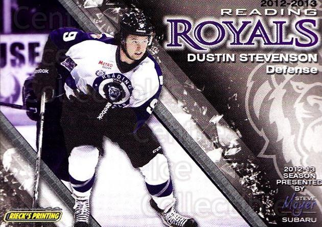 2012-13 Reading Royals #9 Dustin Stevenson<br/>1 In Stock - $3.00 each - <a href=https://centericecollectibles.foxycart.com/cart?name=2012-13%20Reading%20Royals%20%239%20Dustin%20Stevenso...&quantity_max=1&price=$3.00&code=732366 class=foxycart> Buy it now! </a>