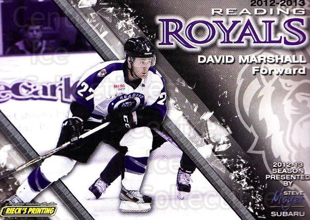 2012-13 Reading Royals #26 David Marshall<br/>1 In Stock - $3.00 each - <a href=https://centericecollectibles.foxycart.com/cart?name=2012-13%20Reading%20Royals%20%2326%20David%20Marshall...&quantity_max=1&price=$3.00&code=732383 class=foxycart> Buy it now! </a>