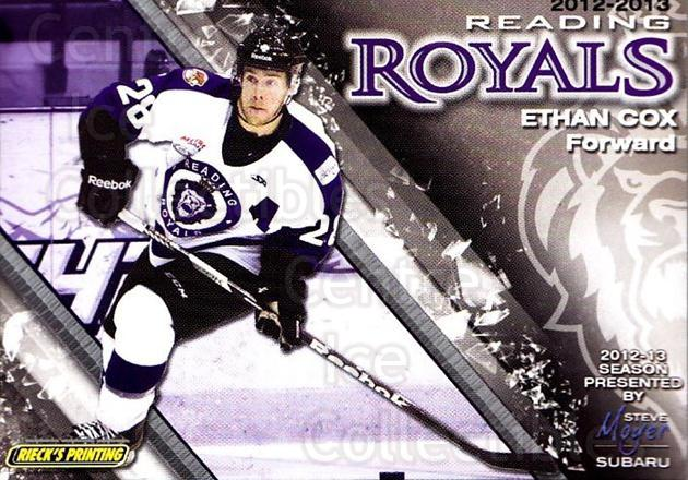 2012-13 Reading Royals #27 Ethan Cox<br/>1 In Stock - $3.00 each - <a href=https://centericecollectibles.foxycart.com/cart?name=2012-13%20Reading%20Royals%20%2327%20Ethan%20Cox...&quantity_max=1&price=$3.00&code=732384 class=foxycart> Buy it now! </a>