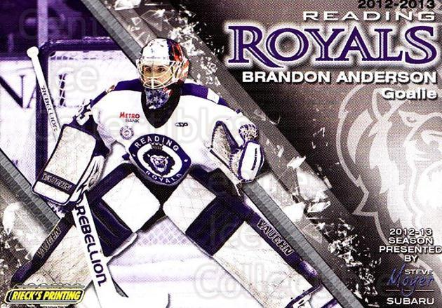 2012-13 Reading Royals #31 Brandon Anderson<br/>1 In Stock - $3.00 each - <a href=https://centericecollectibles.foxycart.com/cart?name=2012-13%20Reading%20Royals%20%2331%20Brandon%20Anderso...&quantity_max=1&price=$3.00&code=732388 class=foxycart> Buy it now! </a>