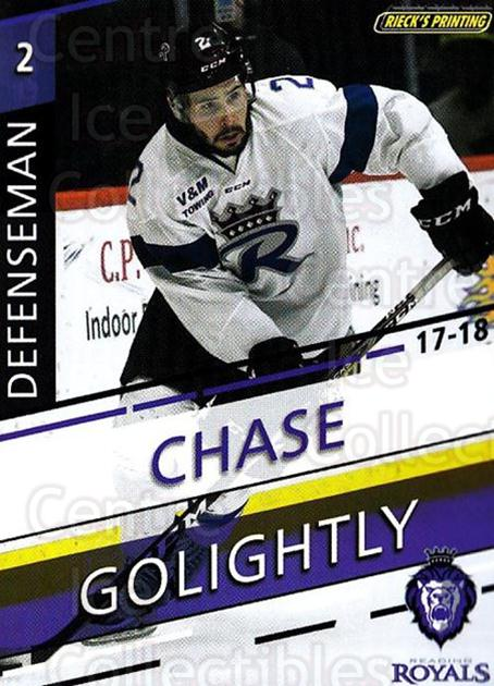 2017-18 Reading Royals #2 Chase Golightly<br/>3 In Stock - $3.00 each - <a href=https://centericecollectibles.foxycart.com/cart?name=2017-18%20Reading%20Royals%20%232%20Chase%20Golightly...&quantity_max=3&price=$3.00&code=732390 class=foxycart> Buy it now! </a>