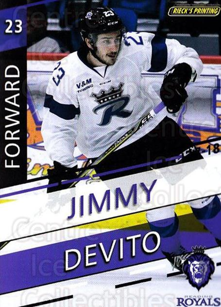 2017-18 Reading Royals #17 Jimmy Devito<br/>3 In Stock - $3.00 each - <a href=https://centericecollectibles.foxycart.com/cart?name=2017-18%20Reading%20Royals%20%2317%20Jimmy%20Devito...&quantity_max=3&price=$3.00&code=732405 class=foxycart> Buy it now! </a>