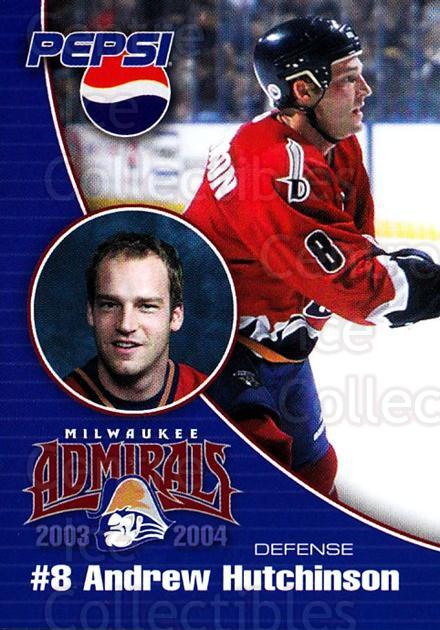 2003-04 Milwaukee Admirals Pepsi #12 Andrew Hutchinson<br/>2 In Stock - $3.00 each - <a href=https://centericecollectibles.foxycart.com/cart?name=2003-04%20Milwaukee%20Admirals%20Pepsi%20%2312%20Andrew%20Hutchins...&quantity_max=2&price=$3.00&code=732608 class=foxycart> Buy it now! </a>