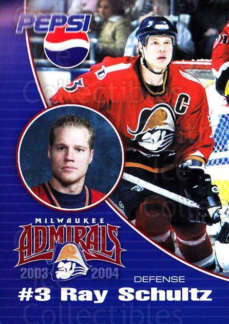 2003-04 Milwaukee Admirals Pepsi #18 Ray Schultz<br/>2 In Stock - $3.00 each - <a href=https://centericecollectibles.foxycart.com/cart?name=2003-04%20Milwaukee%20Admirals%20Pepsi%20%2318%20Ray%20Schultz...&quantity_max=2&price=$3.00&code=732614 class=foxycart> Buy it now! </a>