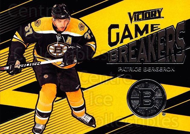 2010-11 UD Victory Game Breakers #PB Patrice Bergeron<br/>1 In Stock - $3.00 each - <a href=https://centericecollectibles.foxycart.com/cart?name=2010-11%20UD%20Victory%20Game%20Breakers%20%23PB%20Patrice%20Bergero...&quantity_max=1&price=$3.00&code=733559 class=foxycart> Buy it now! </a>
