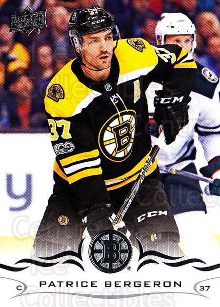 2018-19 Upper Deck #19 Patrice Bergeron<br/>9 In Stock - $2.00 each - <a href=https://centericecollectibles.foxycart.com/cart?name=2018-19%20Upper%20Deck%20%2319%20Patrice%20Bergero...&quantity_max=9&price=$2.00&code=734210 class=foxycart> Buy it now! </a>