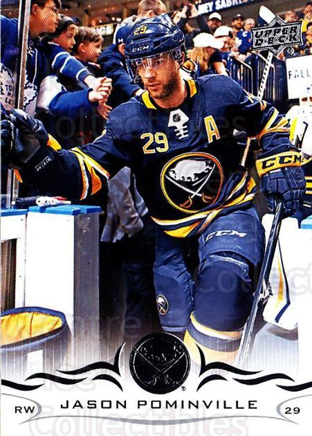2018-19 Upper Deck #24 Jason Pominville<br/>11 In Stock - $1.00 each - <a href=https://centericecollectibles.foxycart.com/cart?name=2018-19%20Upper%20Deck%20%2324%20Jason%20Pominvill...&quantity_max=11&price=$1.00&code=734215 class=foxycart> Buy it now! </a>